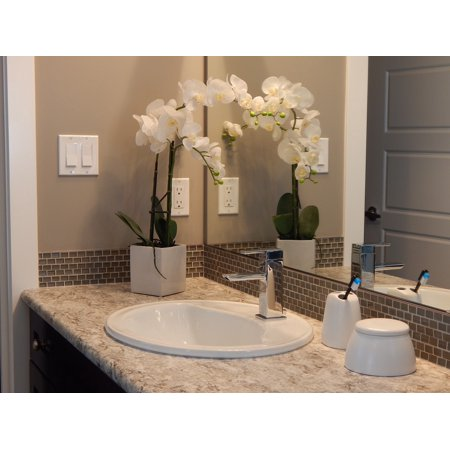 Canvas Print Interior Home Mirror Bathroom Counter Faucet Sink Stretched Canvas 10 x 14