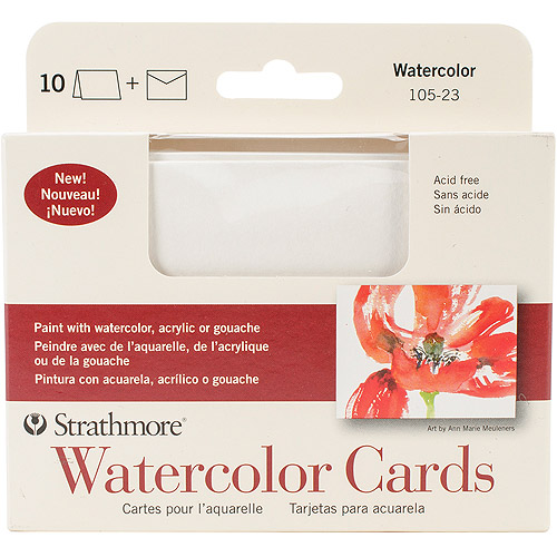 "Strathmore Cards and Envelopes, 3.5"" x 4.875"", 10pk, Watercolor Cold Press"