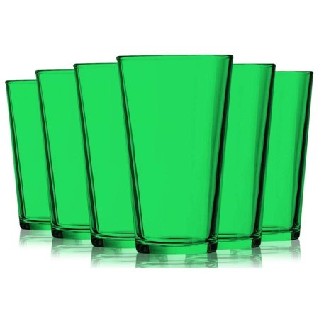 Emerald Green Colored Mixing Glasses - 16 oz. set of 6- Additional Vibrant Colors Available by TableTop King  - Orange Martini Glasses