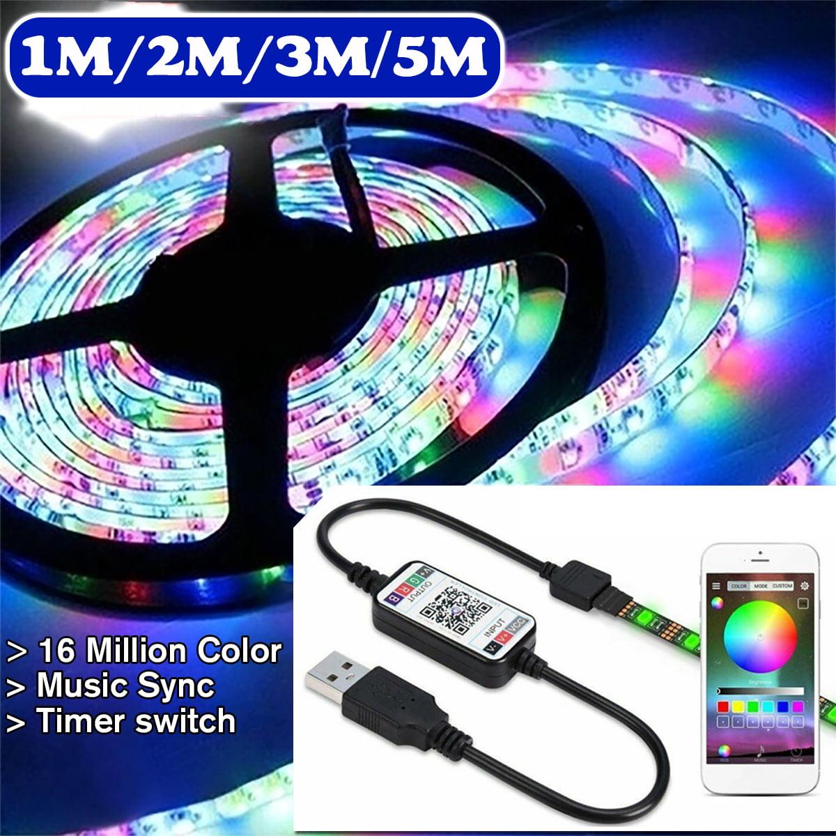 LED Strip Lights 5050 RGB SMD TV Backlight Bluetooth APP Remote Music USB Power