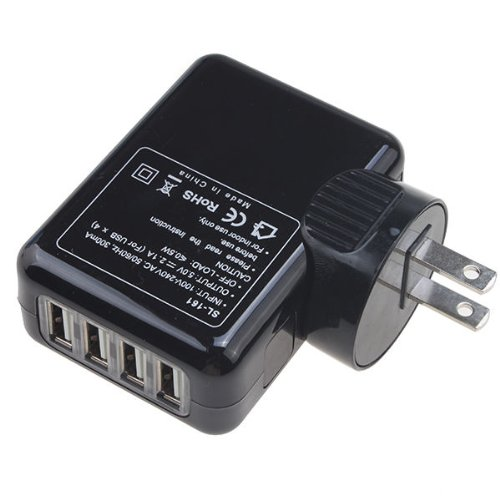 EpicDealz Universal 4 Port Wall USB Travel Home to AC Power Adapter 2.1 Amp Charger For HTC One X / Elite - Black