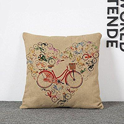 Bicycle Print Throw Pillow : bicycle print throw pillow covers lumbar cushions linen decorative pillow covers - Walmart.com