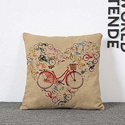 bicycle print throw pillow covers lumbar cushions linen decorative pillow covers - Walmart.com