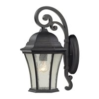 Wellington Park 1-Light Outdoor Wall Lantern in Weathered Charcoal