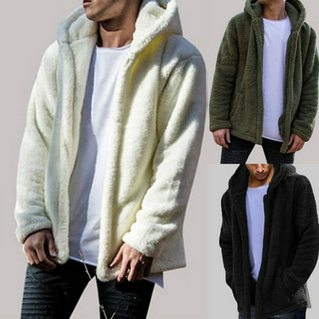 Mens Winter Teddy Bear Pocket Coat Fleece Fur Jackets Warm Outerwear Hoodie (Coats For Men Fur Collar)