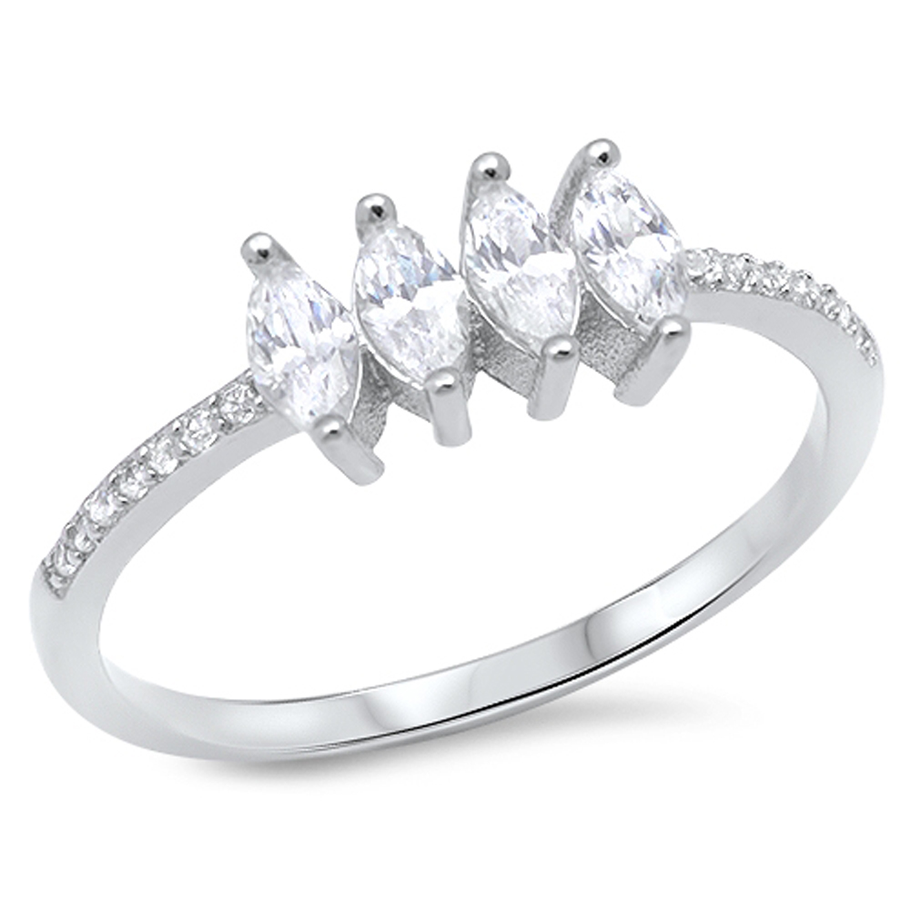 Marquise White CZ Wedding Ring ( Sizes 5 6 7 8 9 10 ) New .925 Sterling Silver Band Rings by Sac Silver (Size 9)