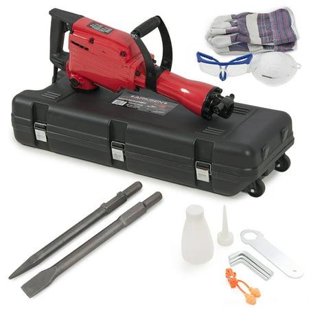 Arksen 2200W Electric Demolition Jack Hammer Concrete Breaker Punch & Chisel Bits with Case Kit