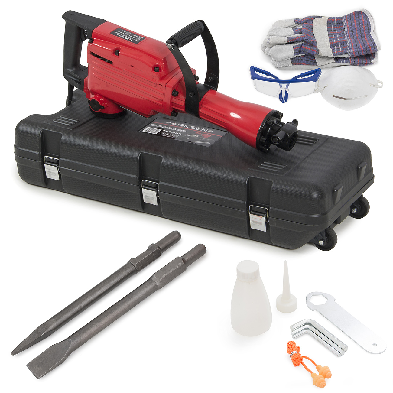 Arksen 2200W Electric Demolition Jack Hammer Concrete Breaker Punch & Chisel Bits with Case Kit