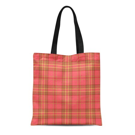 LADDKE Canvas Tote Bag Brown Coral Plaid Pattern Orange Abstract Autumn Check Checkered Reusable Shoulder Grocery Shopping Bags Handbag