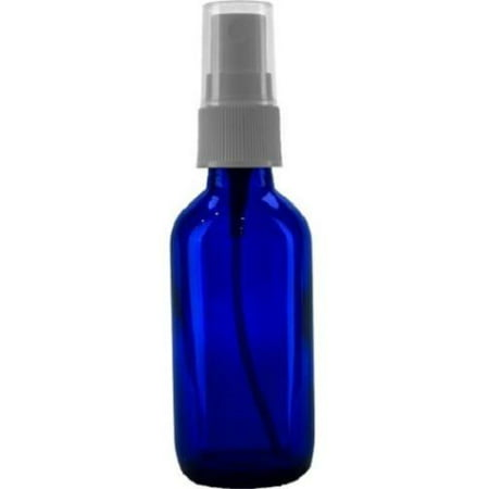 Blue Round Glass (2 oz. Cobalt Blue Boston Round Glass Spray Bottle WHITE Fine Mist)