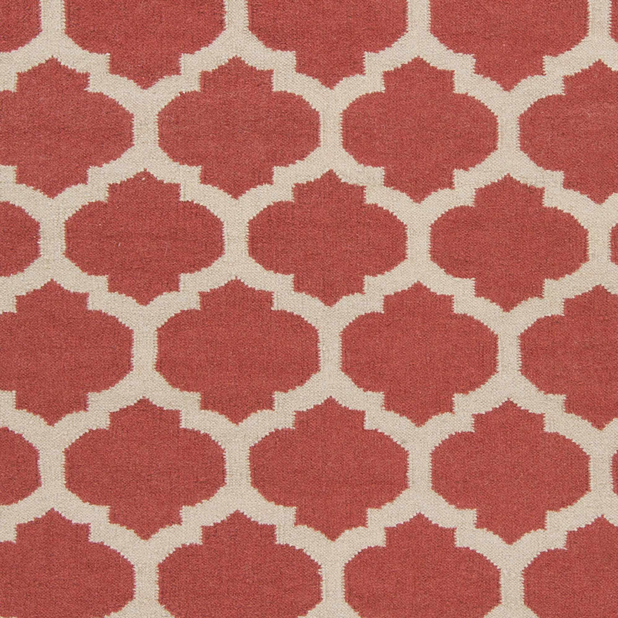 Art of Knot Large Lattice Hand Woven Flatweave Wool Area Rug, Coral