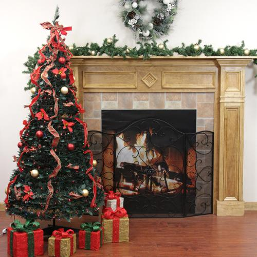 6' Pre-Lit Pop Up Decorated Red Plaid Artificial Christmas Tree - Multi Lights