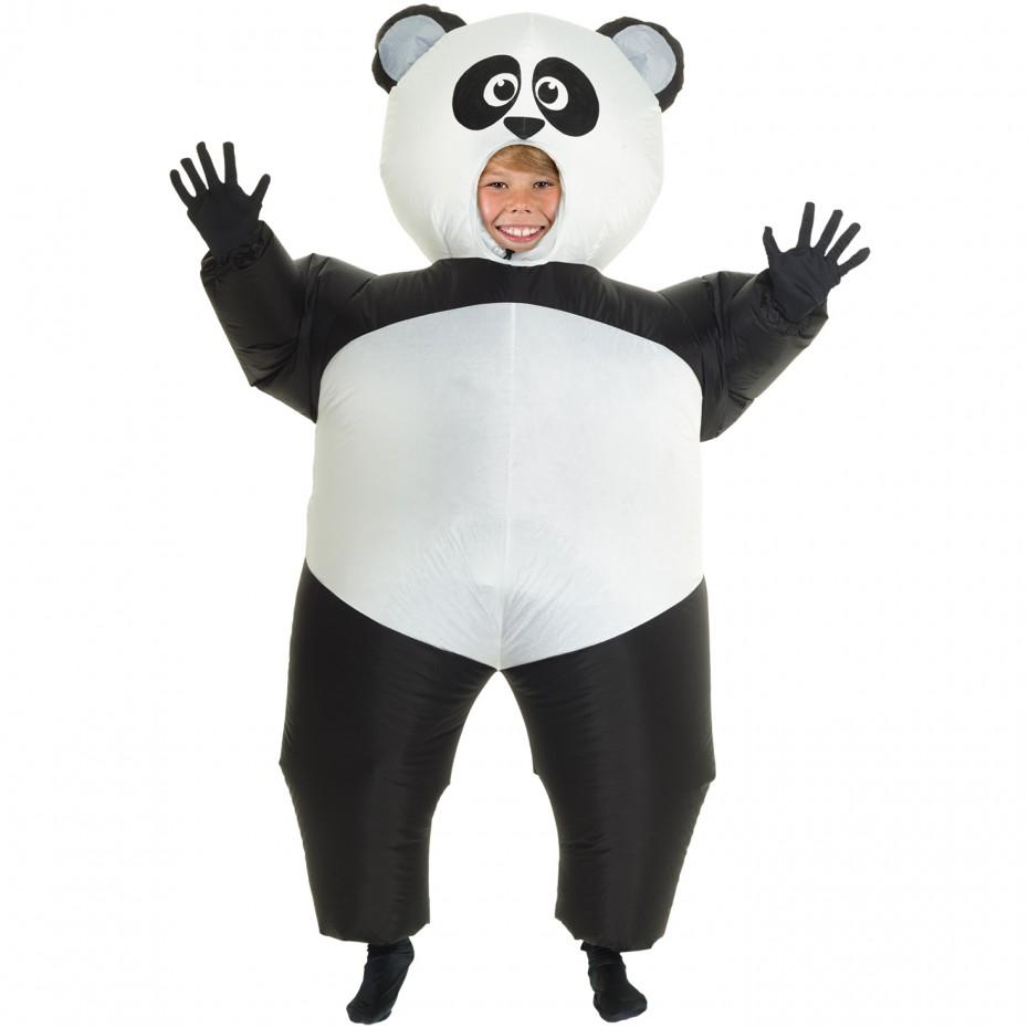 Boys Giant Panda Inflatable Costume Kids Boy Costume, Black White, One-Size