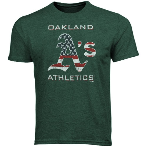 Oakland Athletics Majestic Threads Stars & Stripes Tri-Blend T-Shirt - Green