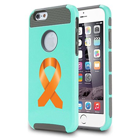 Apple iPhone 6 Plus / 6s Plus Shockproof Impact Hard Case Cover Leukemia Cancer - Multiple Sclerosis - Kidney Cancer Awareness Ribbon (Teal ),MIP