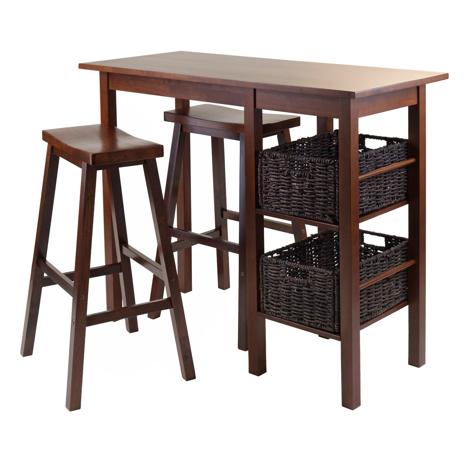 Winsome Wood Egan 5pc Table W Saddle Seat Bar Stools And 2 Baskets