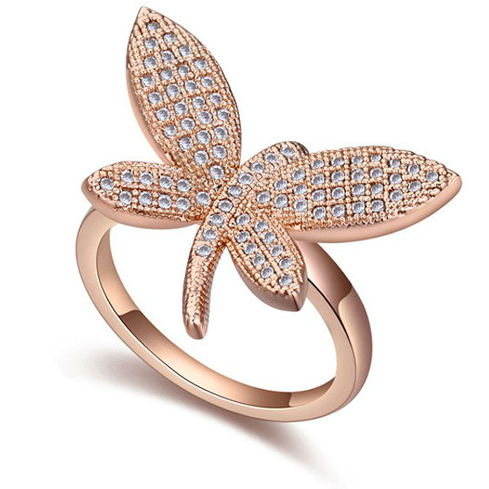 CZ Luxxe Jewelry Cubic Zirconia,18k Plated Gold Butterfly Ring