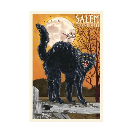Salem, Massachusetts - Black Cat and Moon Print By Lantern Press