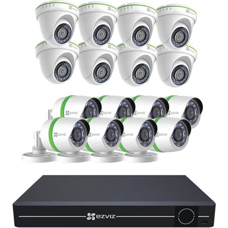 Ezviz 16-Channel 1080p Analog Security System with 3TB HDD, 8 Weatherproof 1080p Bullet Cameras and 8 Dome Cameras