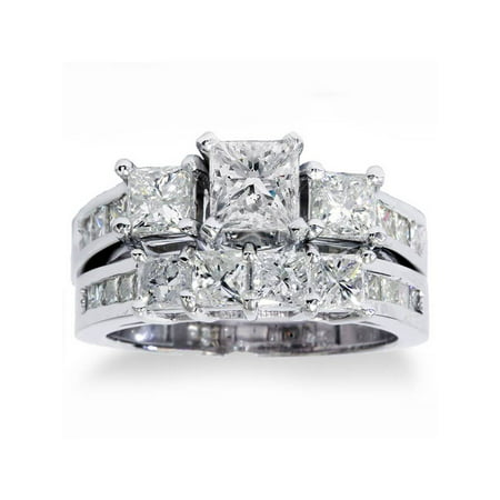 Cut Diamond Ring Band - 3 1/2ct Princess Cut Diamond Engagement Ring Wedding Band 3-Stone Set White Gold
