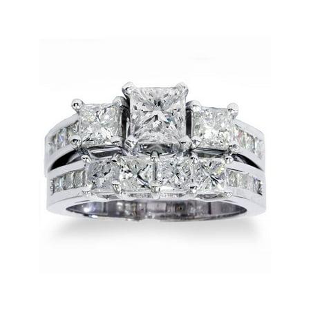 3 1/2ct Princess Cut Diamond Engagement Ring Wedding Band 3-Stone Set White