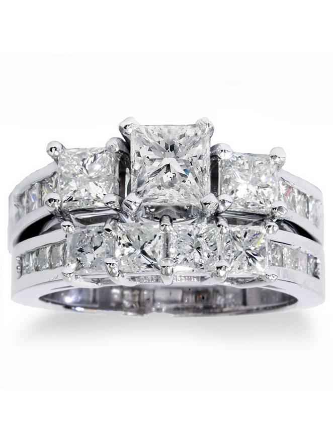 Three Stone Engagement Ring White Diamond Ring Princess /& Baguette Cut Diamond Ring Anniversary Diamond Ring For Women Wedding Gift
