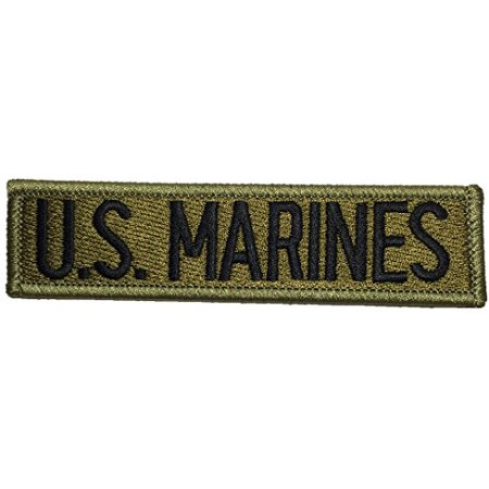 US Marines Military U.S. Army Tactical Morale Name Tab Applique Embroidered Emblem Badge Costume Patch - Green By Ranger Return (TACT-MARINE)