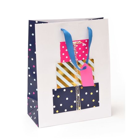 Roobee Pop-Out Present Medium Gift Bag & Tag With Gold Foil - Present Bag