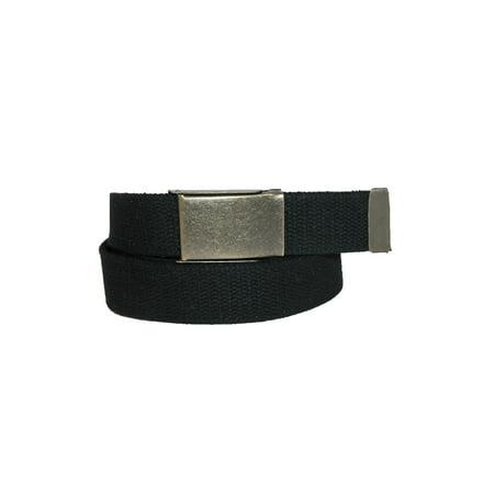Mens Brake Buckle (Mens Fabric Belt with Brass Flip Top Buckle, Black )