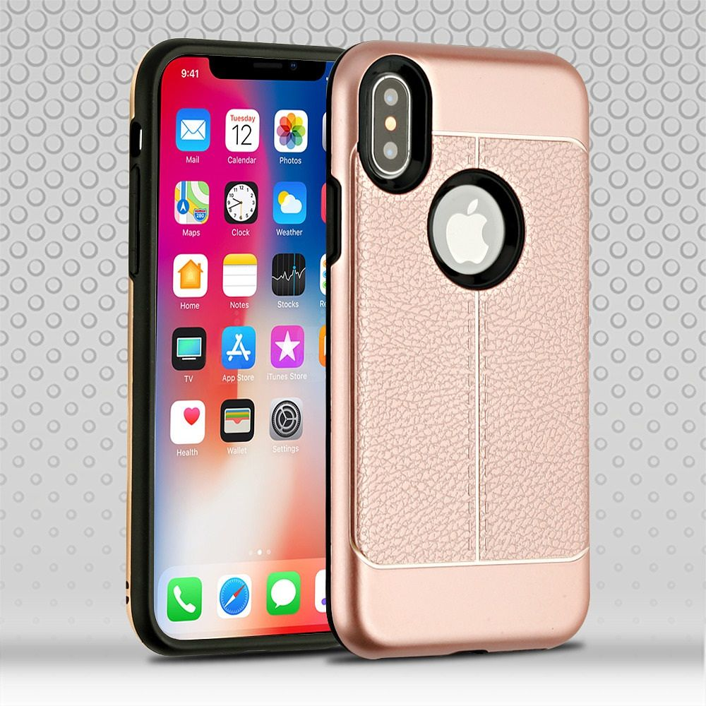 Apple iPhone X Case, by Insten Dual Layer [Shock Absorbing] Hybrid Leatherette Hard Plastic/Soft TPU Rubber Case Cover For Apple iPhone X, Rose Gold (Combo with Glass Screen Protector) - image 3 of 3