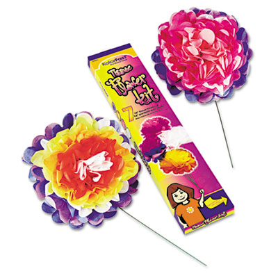 "Tissue Paper Flower Kit, 10"", 7 per kit, Assorted Colors, Sold as 1 Package, 12 Sheet per Package"