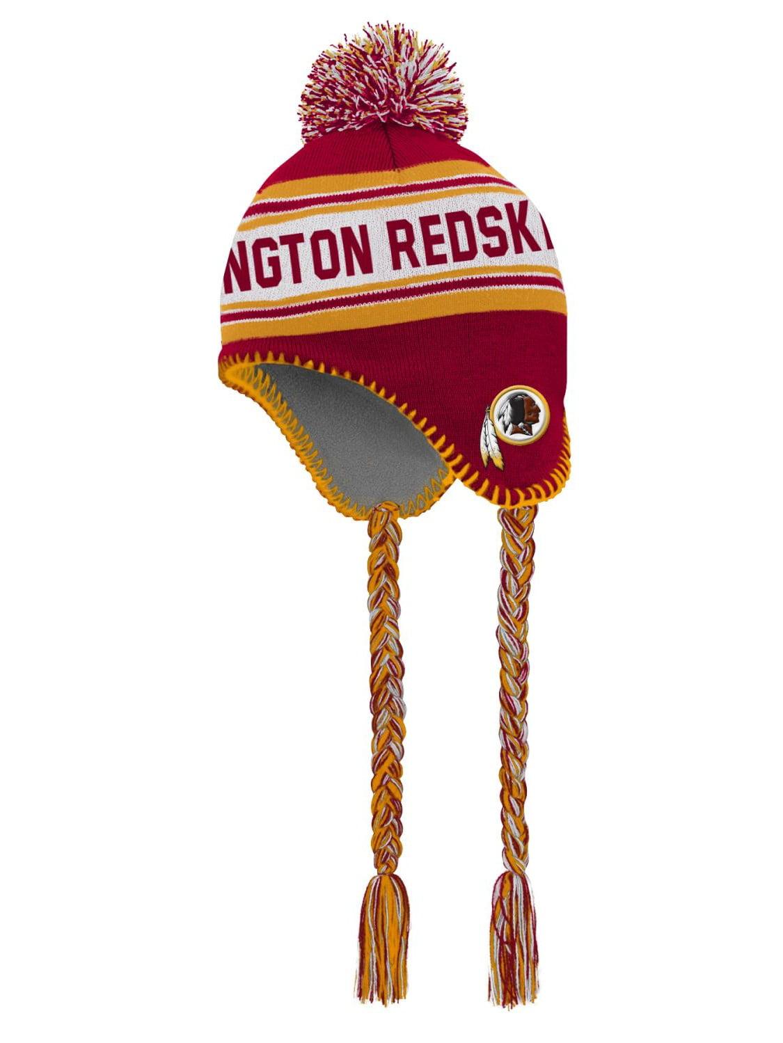 "Washington Redskins Youth NFL ""Striped Jacquard"" Tassel Knit Hat w  Pom by Outerstuff"