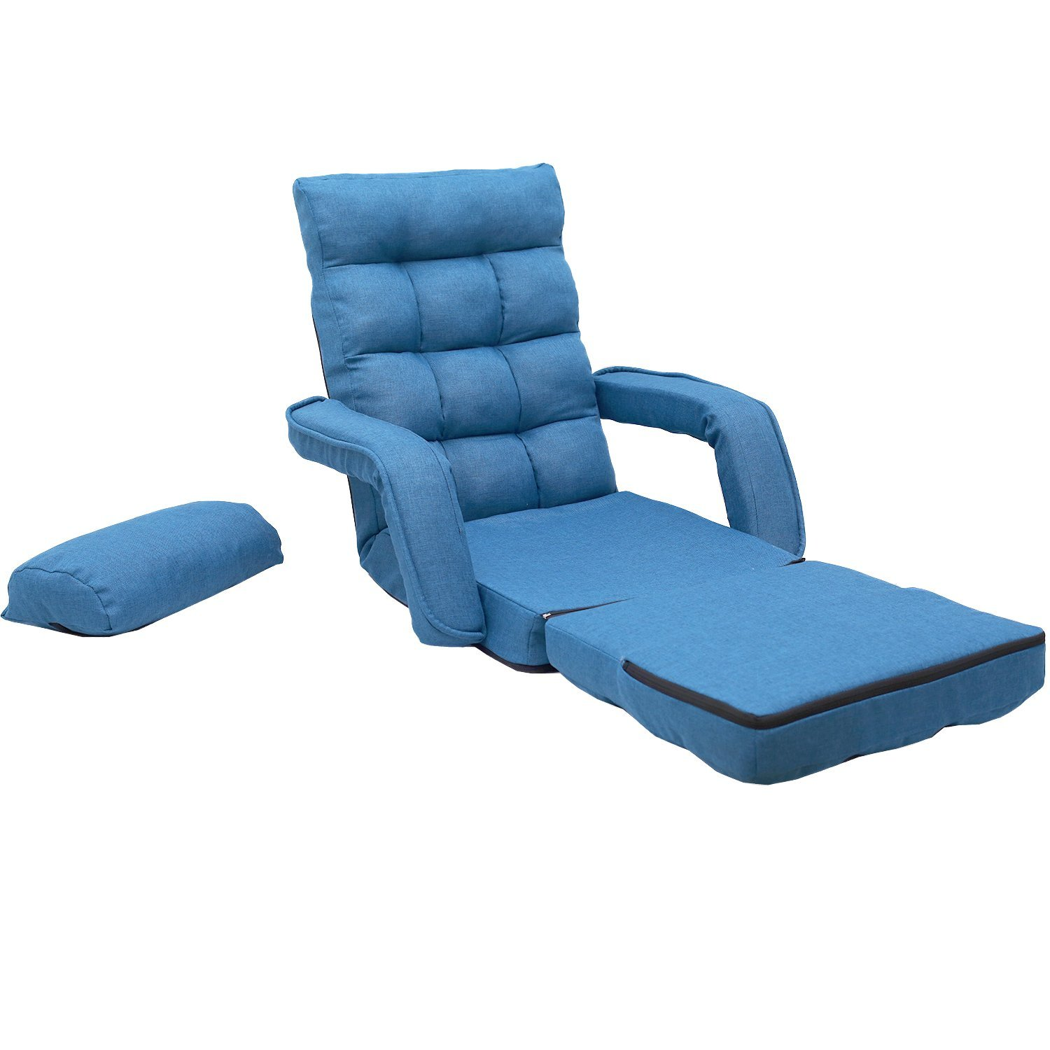 Admirable Merax Folding Lazy Sofa Floor Chair Sofa Lounger Bed With Armrests And A Pillow Blue Andrewgaddart Wooden Chair Designs For Living Room Andrewgaddartcom