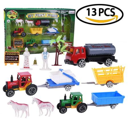 Farm Toys for Children Car Play Set Mini Role Play Action Figure Tractors for Kids 13 pcs F-79 - Mini Figure Play Set