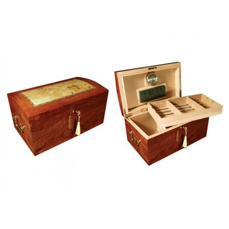 Broadway Arc Shaped Top Cigar Humidor - High Gloss Burl Wood Finish w/ Light Mappa Wood Inlay - Capacity: -