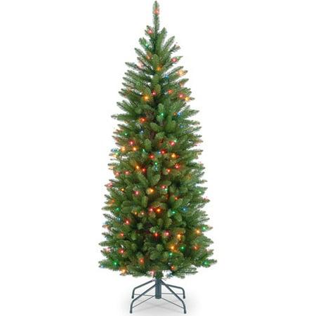 national tree pre lit 4 12 kingswood fir hinged pencil artificial - Pre Lit Pencil Christmas Tree