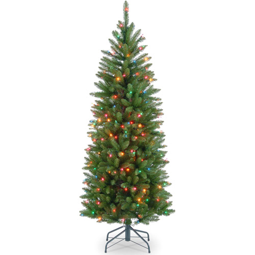 National Tree Pre-Lit 4-1/2' Kingswood Fir Hinged Pencil Artificial Christmas Tree with 150 Multi Lights