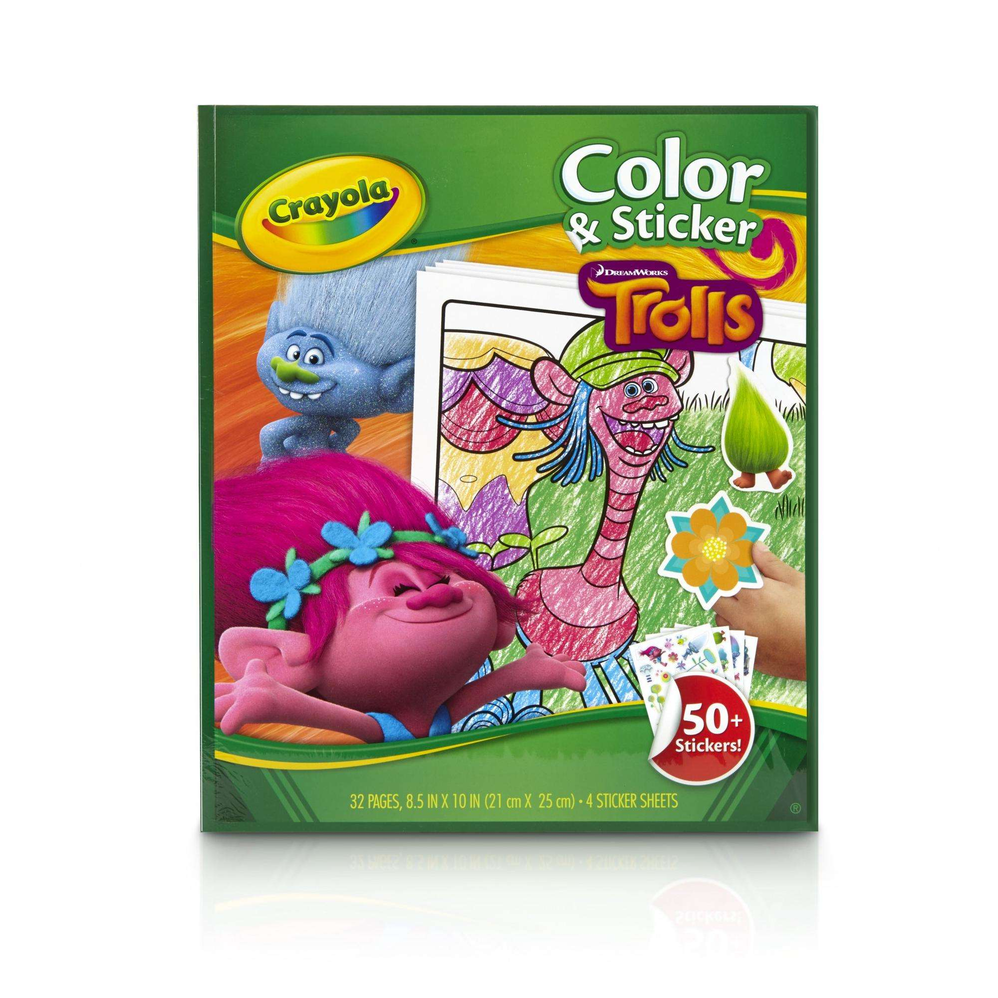 Crayola Trolls Coloring & Sticker Book, 32 Pages, 50+ Stickers