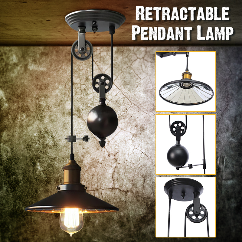 Gentil AC110 240V E27 Hanging Lamp Industrial Vintage Chandeliers Pulley Light  Pendant Lighting Fixture Adjustable Wire Retractable Retro Iron Ceiling  Light ...