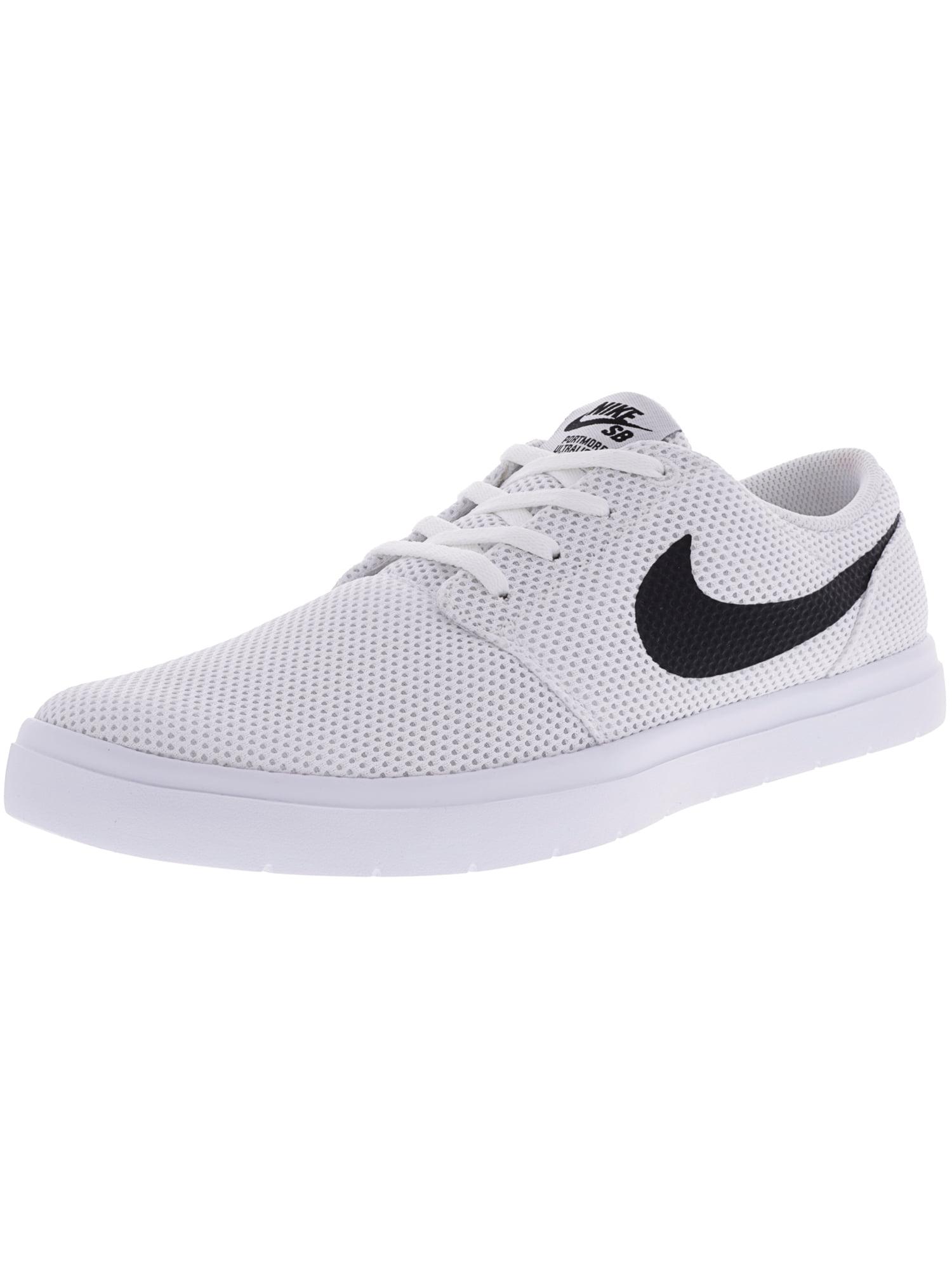 Nike Men's Sb Portmore Ii Ultralight White / Black Track Red Ankle-High Skateboarding Shoe - 9.5M
