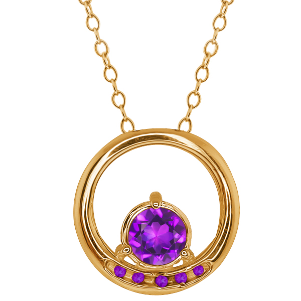 0.78 Ct Round Purple Amethyst Gold Plated Sterling Silver Pendant