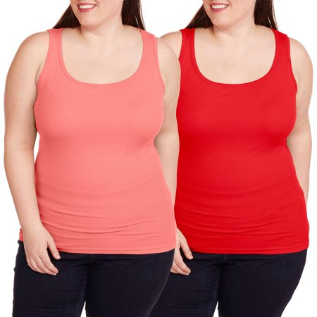 Faded Glory Women's Plus-Size Essential Rib Tank, 2 Pack Value Bundle