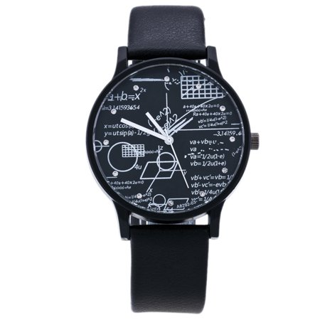 Creative Mathematical Geometric Dial Analog Quartz Wristwatch for Students Color:Black Dial Black Band