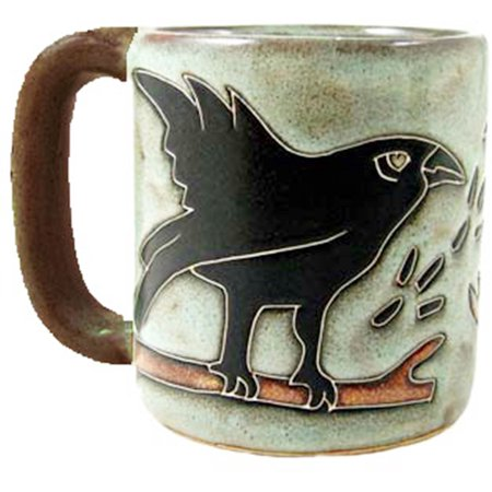 Stoneware Bird - One (1) MARA STONEWARE COLLECTION - 16 Oz Coffee Cup Collectible Dinner Mug - Raven Bird Design
