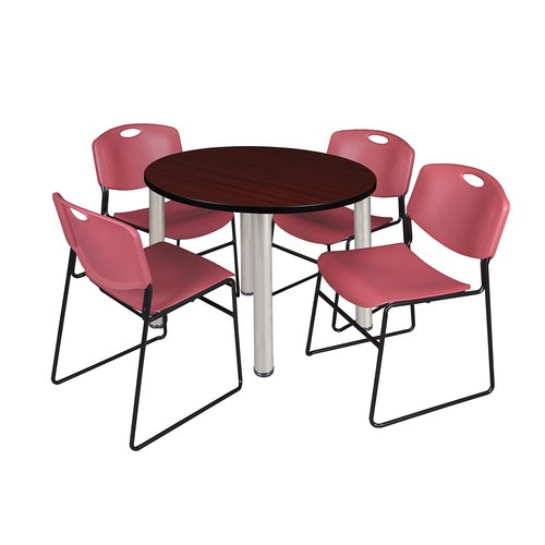 "Kee 36"" Round Breakroom Table- Mahogany/ Chrome & 4 Zeng Stack Chairs- Blue"