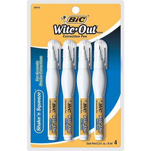 BIC Wite-Out Shake 'n Squeeze Correction Pen, 8 ml, White, 4/Pack