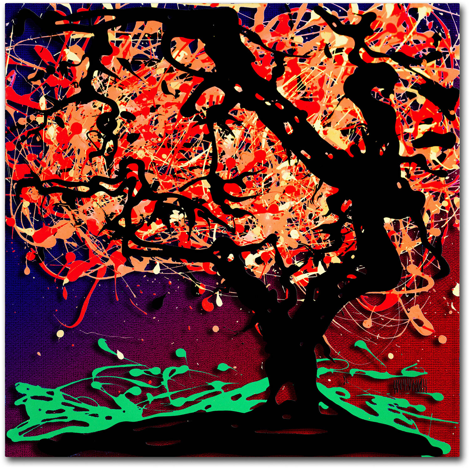 Trademark Fine Art  Fall Red Tree  Canvas Art by Roderick Stevens