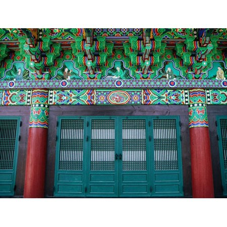 Doors, Entry Pillars and Ornate Detail at Pomosa Temple, Busan, Gyeongsangnam-Do, South Korea Print Wall Art By Richard I'Anson
