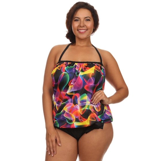 4de0c8e7d9d Dippin' Daisy's - Dippin Daisy's Plus Size Multi Lava Bandeau Blouson Tie  Tankini Set Swimwear (Includes Bottom) Made in USA - Walmart.com