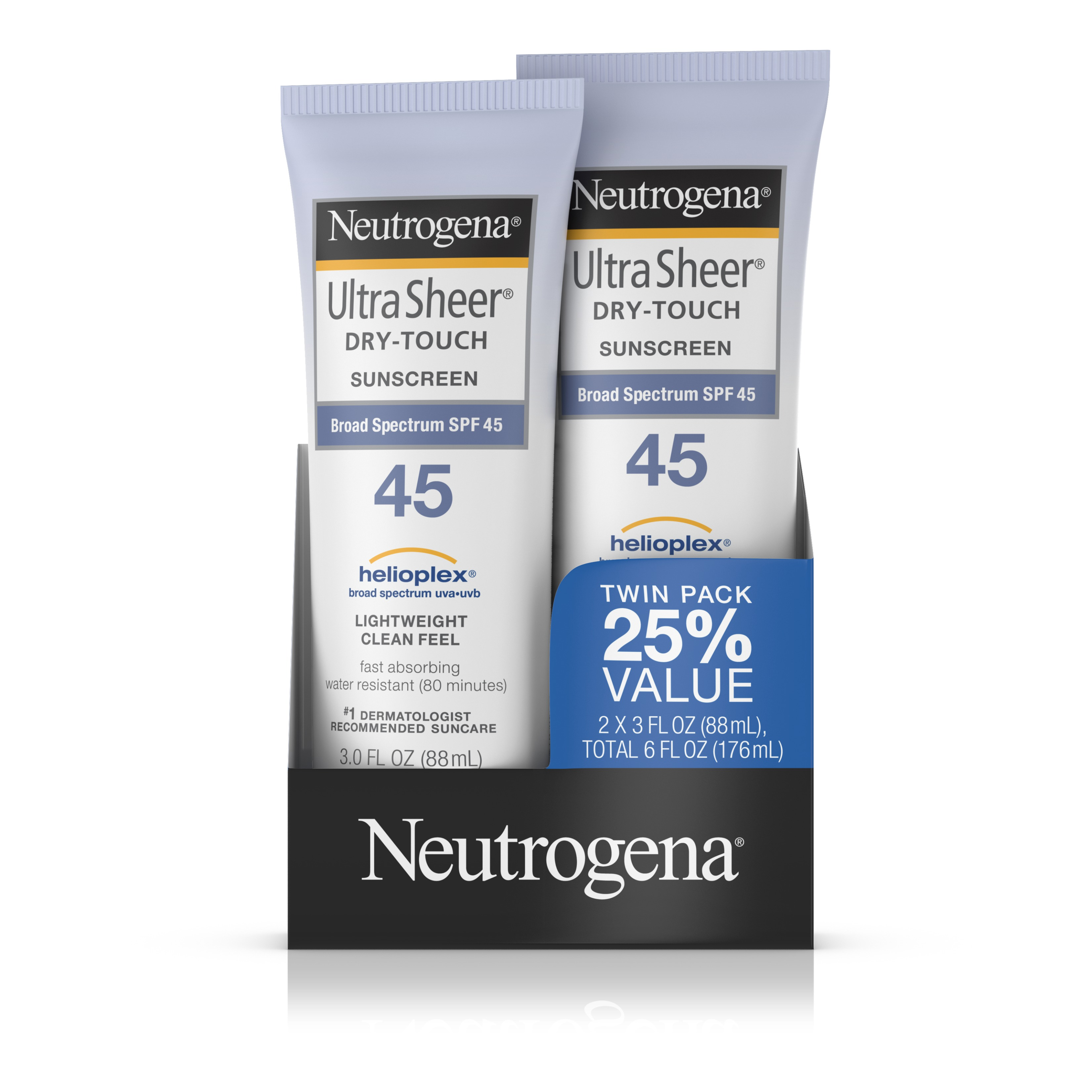 Neutrogena Ultra Sheer Dry-Touch Water Resistant Sunscreen SPF 45, 3 fl. oz, Pack of 2